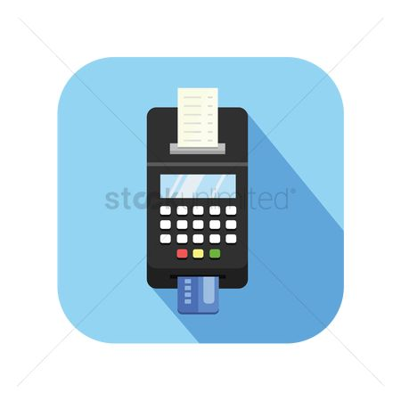 Currencies : Icon of a credit card terminal with receipt
