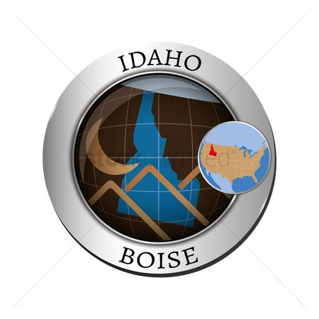 Boise : Idaho state with mountain badge