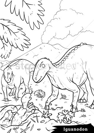 Colorings : Iguanodon with hatchlings