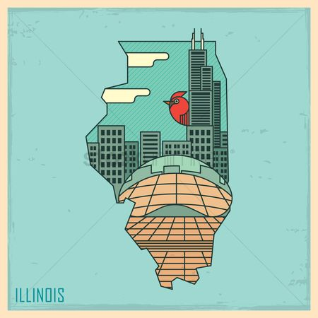 Sears tower : Illinois state map