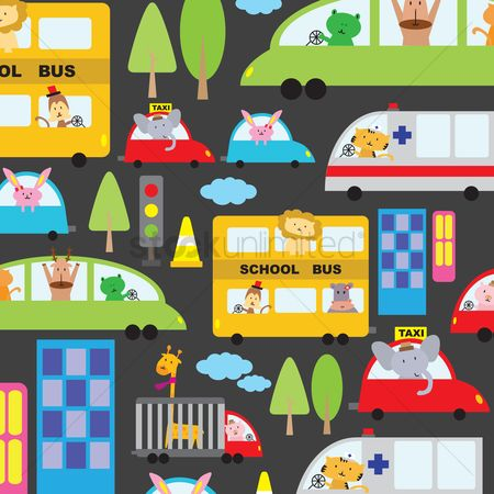 Automobile : Illustrated cartoon vehicles background design