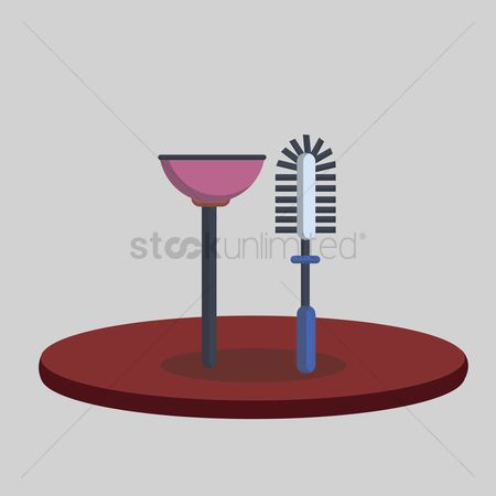 Chores : Illustration of a toilet plunger and brush