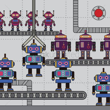 Production : Illustration of robots in a factory