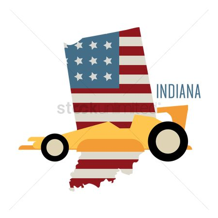 Indiana : Indiana state map with race car