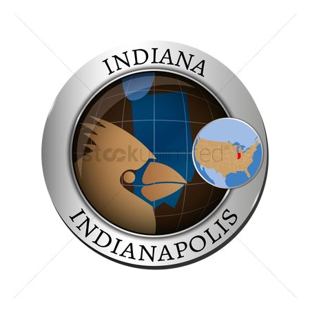 Indiana : Indiana state with cardinal badge