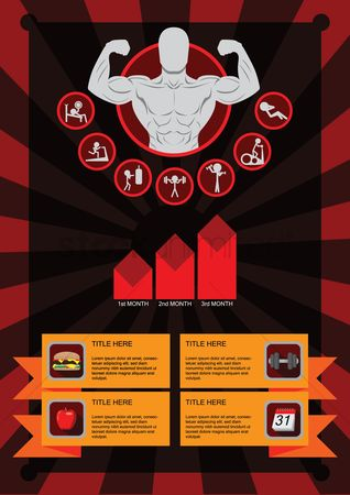 Junk food : Info graph of fitness icons