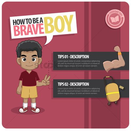 Tips : Infographic of a brave boy