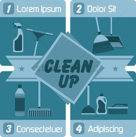 Clean : Infographic of an cleaning supplies
