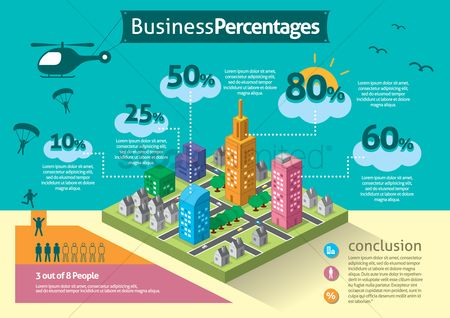 Building : Infographic of business percentages