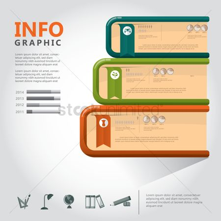 Stationary : Infographic of educational icons