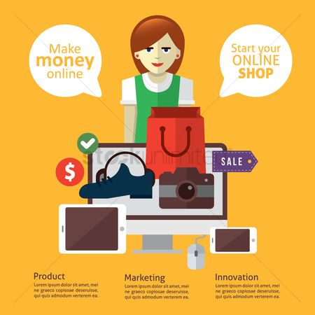 Online shopping : Infographic of online business