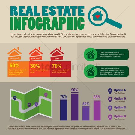 Map pointer : Infographic of real estate