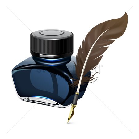 Write : Ink bottle and quill pen