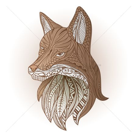 Linear : Intricate fox design
