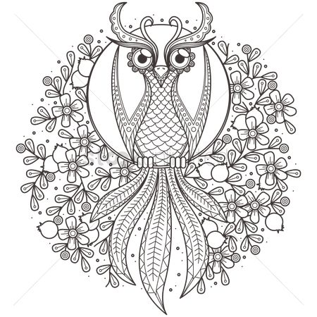 Floral : Intricate owl design