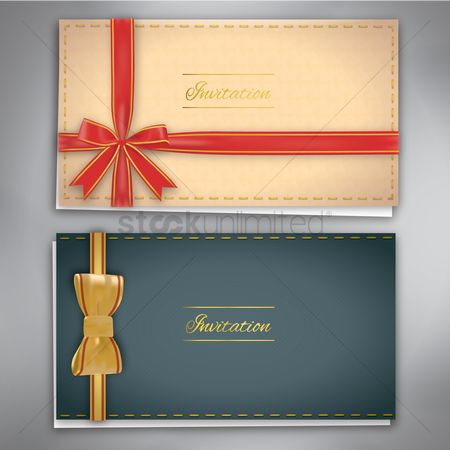 Invitations : Invitation cards with a ribbon