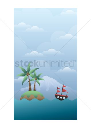 Sail : Island and ship