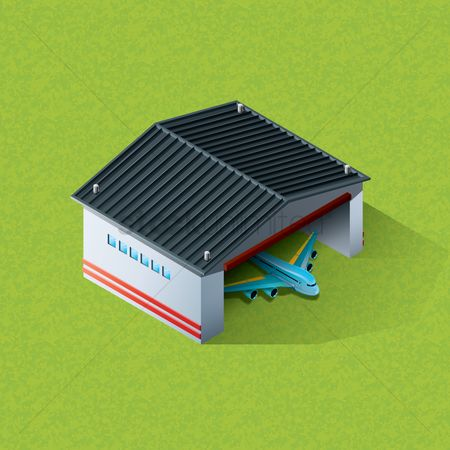 Airplane : Isometric airport hanger