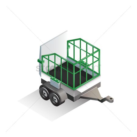 Zoos : Isometric animal cage trolley