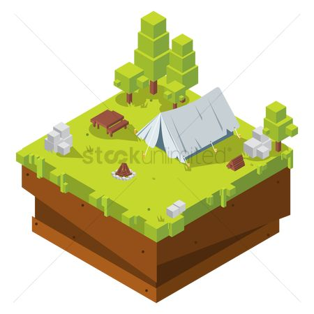 Logs : Isometric camping