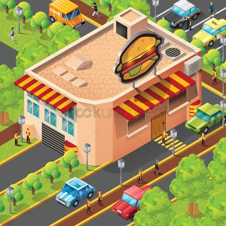 Burgers : Isometric fast food restaurant