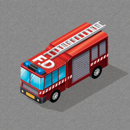 Dimensional : Isometric fire truck