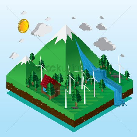 Clean : Isometric illustration of a wind turbine