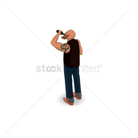 Backview : Isometric man drinking from bottle