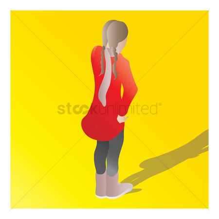 Backview : Isometric of a girl