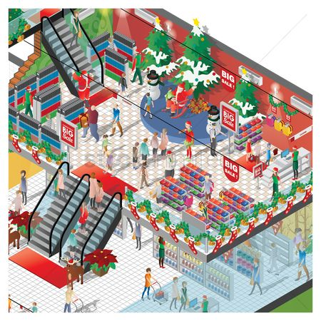 Trolley : Isometric of a shopping mall