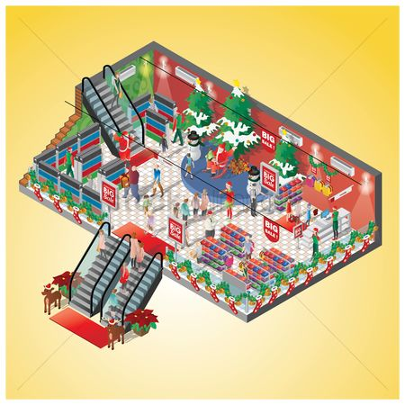 Gifts : Isometric of a shopping mall