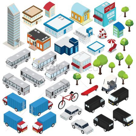 Lorries : Isometric of city icons