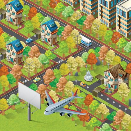 Aeroplanes : Isometric of city life