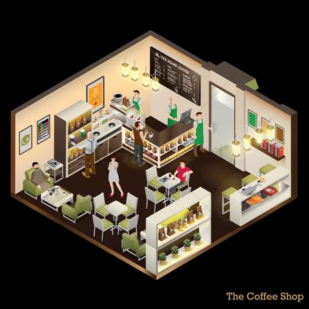 Guys : Isometric of coffee shop