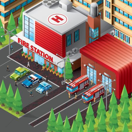 Transport : Isometric of fire station building