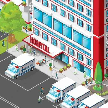 Transport : Isometric of hospital building