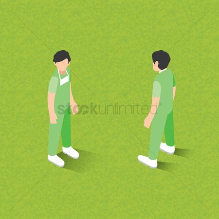 Surgeon : Isometric of men standing