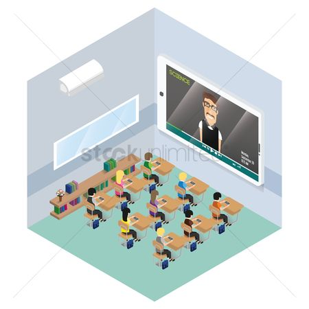 Screens : Isometric representation of a classroom