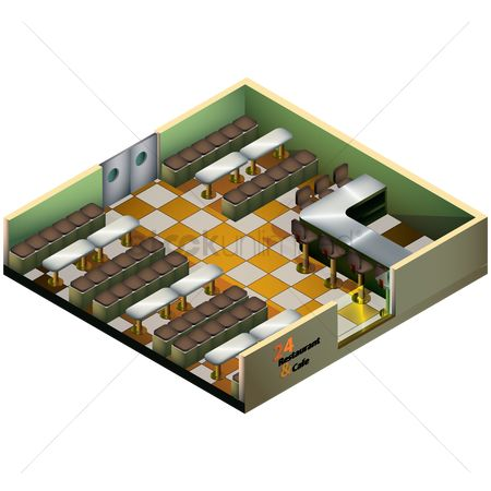 Cafe : Isometric restaurant and cafe