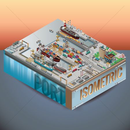 Lorries : Isometric sea port