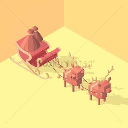 Harness : Isometric sleigh with reindeers