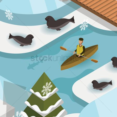 Paddle : Isometric snow landscape
