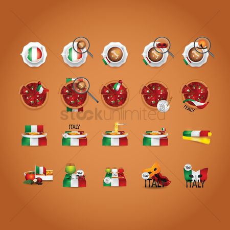 Topping : Italian food and beverage icon set