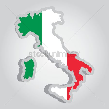 Tricolored : Italy map with flag