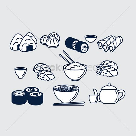 Japanese cuisines : Japanese food set