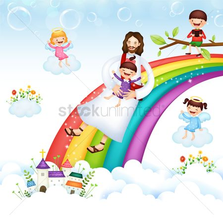 Christian : Jesus and girl on a rainbow slide