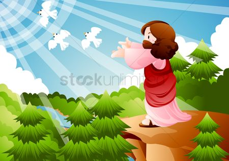 Sunray : Jesus releasing white doves