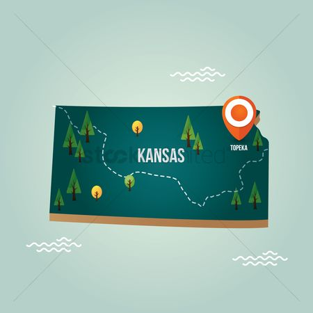 Kansas : Kansas map with capital city