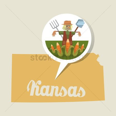Kansas : Kansas map with farming icon