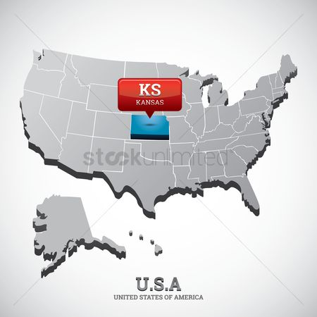 Kansas : Kansas state on the map of usa